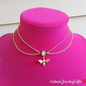 16K Gold Layered Antique Opal Choker Necklace